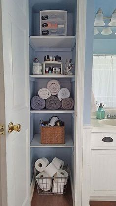 Looking to organize your bathroom closet then take this for some inspiration!  now heads back to organizing my own bathroom   #renovation #organizingideas #organize #DIY #pinterest #bathroomsolutions #bathroomideas