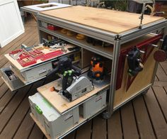 Wood - Tools - Workbench How To Care For Your Furniture In Tool Workbench, Festool Tools, Woodworking Workbench, Woodworking Workshop, Woodworking Projects, Workshop Storage, Workshop Organization, Garage Workshop, Tool Storage