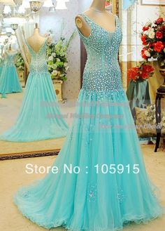 2014 Real Sample Luxury Turquoise With Crystal And Beads See Through Long Mermaid Evening Dresses Prom Dresses Tulle CN-69 US $190.00