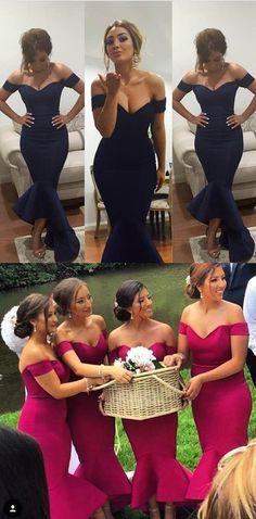 2017 bridesmaid dress, mermaid long bridesmaid dress, navy blue long bridesmaid dress, hot pink long bridesmaid dress