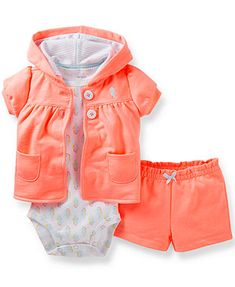 Carter's Baby Girls' 3-Piece Bodysuit, Cardigan & Shorts Set