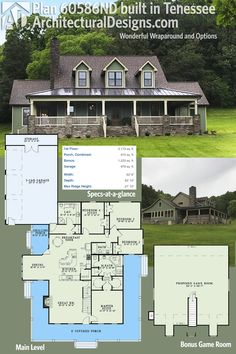 Architectural Designs Country Farmhouse Plan 60586ND, client-built in Tennesse, has the wraparound porch of the original design and a modified garage. Ready when you are. Where do YOU want to build?