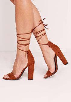 Missguided - Block Heel Barely There Brown