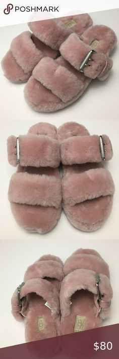 UGG Fuzz Yeah Pink Slippers These UGG slippers are super comfy on your feet. The fur throughout makes them feel like your walking on a cloud. Also very stylish. Nice light pink color. They are brand new with no box. Please feel free to ask questions. Thanks for viewing! UGG Shoes Slippers