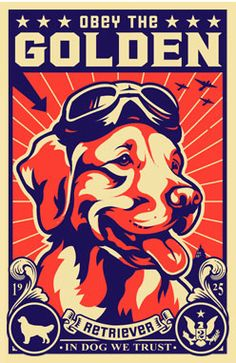 Golden Retrievers are my favorite dog - Vintage look poster - red, blue, ivory
