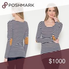 NWT Ebow Patch Striped Top + Elbow Patch Striped Top {black & white striped with tan patches} + Cotton/Spandex blend  + These look like they run small {in my opinion} so if you are unsure on size please order a size up 😊 Tops