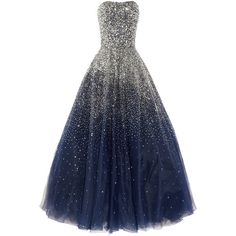Marchesa Sequined strapless silk tulle gown (40.075 BRL) ❤ liked on Polyvore featuring dresses, gowns, vestidos, long dresses, tulle ball gown, long blue dress, marchesa gown and blue dress