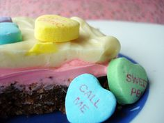 Sweets for Your Sweet: Conversation Heart Nanaimo Bars Recipe for Serious Eats — Jessie Unicorn Moore Delicious Desserts, Dessert Recipes, Nanaimo Bars, Candy Popcorn, Valentines Day Food, Red Food Coloring, Converse With Heart, Serious Eats, Graham Cracker Crumbs