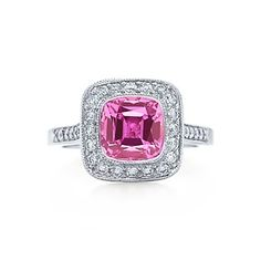 Tiffany & Co. | Item | Tiffany Legacy Collection™ ring with a pink sapphire and diamonds in platinum. | United States