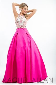 Mikado ball gown with embellished top and back interest. Order today by calling Everything for Pageants at 1-815-782-8877 and ask for our current promotions.