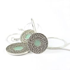 Round Light Emerald color Earrings- Silver braid chain and resin