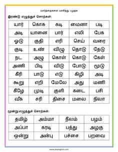Free printable for kids (toddlers/preschoolers) flash cards/charts/worksheets/(file folder/busy bag/quiet time activities)(English/Tamil) to play and learn at home and classroom. Handwriting Worksheets For Kindergarten, 2nd Grade Worksheets, Reading Worksheets, School Worksheets, Lkg Worksheets, Handwriting Practice, Reading Words, Reading Practice, First Grade Spelling