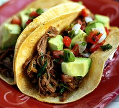 Shredded Beef Tacos with Avocado and Lime. Planning on making this tomorrow for Cinco De Mayo!