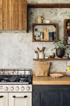 Up-cycled kitchen shelves
