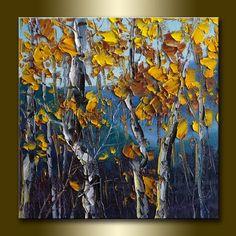 Autumn Birch Original Textured Palette Knife Landscape Painting Oil on Canvas Contemporary Modern Tree Art 15X15 by Willson Lau