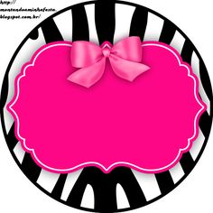 Riding my party: Zebra Pink and Black Zebra Rosa, Pink Zebra, Printable Labels, Party Printables, Decoupage, Zebra Party, Cake Logo, Barbie Party, Borders And Frames