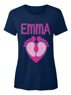 Emma   Baby Name Navy Women's T-Shirt Front