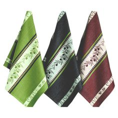 Three cotton dish towels with olive branch designs.  Product: 3 Piece dish towel setConstruction Material: Cotto...