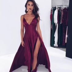 Elegant V-Neck Spaghetti-Straps Prom Dresses Trendy Dresses, Elegant Dresses, Sexy Dresses, Beautiful Dresses, Cute Dresses, Fashion Dresses, Long Dresses, Dress Long, Fashion Top