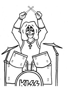 kiss rock band coloring pages