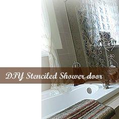 Stenciled shower door