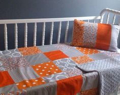 Patchwork Cot Quilt Made in Australia Orange and Grey Foxes - Edit Listing - Etsy