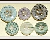 6 Antique 1850s-60s China calico buttons