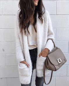 Fuzzy cardi and lace-trimmed cami
