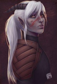 Wish I could make my Qunari look like this. Qunari (oc request) by bumblefutts.deviantart.com on @deviantART