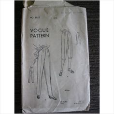 """1940's 1950's Vogue sewing pattern 6822 ladies trousers waist 28"""" used - ebid"""