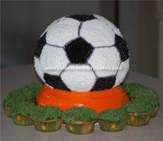 Homemade Soccer Ball Cake: I made this Soccer Ball Cake for my son's end-of-the-season soccer party. It was so much fun and a big hit with the team! I created my own fondant for
