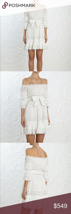 2018 Zimmermann Corsair Frill Tier Short Dress Corsair Frill Tier Dress, from Resort Swim 18, in Ivory cotton. Off shoulder mini tier dress with pin tuck detail, layered ruffles and lace trim inserts. Shoestring halterneck tie with toggle ends, come with a detachable self tie belt. Side invisible zip closure, lined.  100% cotton Gentle cold handwash separately Dry flat in surface Cool iron. AU 0=XS, 1=S, 2=M. Zimmermann Dresses Mini