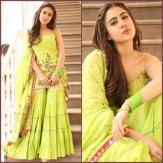 Sara Ali Khan in Sukriti and Aakriti outfit. Styled by Tanya Ghavri and Namrata! Indian Gowns, Indian Attire, Pakistani Dresses, Indian Wear, Eid Dresses, Special Dresses, Bollywood Dress, Bollywood Fashion, Bollywood Style
