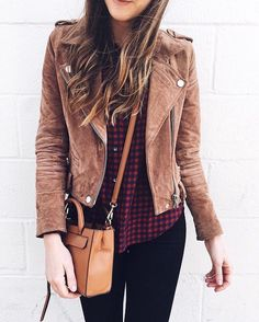 (@girlmeetsgold) Suede Moto Jacket | Fall Style | Fall Outfits | Brown Suede Jacket | Neutral Style | Buffalo Plaid Shirt Outfit | Winter Outfits