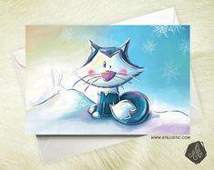 PRECOMMANDE  Carte de voeux Noël Renard polaire et lapins