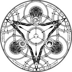This here, is the circle of the Eclipse, and why is it? Becouse it contains the tatoo of eclipse the symbol of the sun and then symbol of moon and some . Circle of the Eclipse Spell Circle, Circle Art, Magic Circle, Alfabeto Viking, Magic Symbols, Demon Art, Celtic Tattoos, Geometric Lines, Book Of Shadows