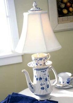 With Coffee Pot Lamps & Teapot Pincushions Repurposed Coffee Tea Pot with Saucer and Cup makes LampRepurposed Coffee Tea Pot with Saucer and Cup makes Lamp Tea Cup Lamp, Teacup Crafts, Deco Originale, Curvy Girl Fashion, Room Themes, Lamp Shades, Pin Cushions, Decoration, Tea Pots