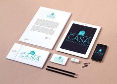 Création du logo My Casa et des supports de papeterie. My Casa est le spécialiste de la location saisonnière sur la Côte d'Azur. Pour une escapade en amoureux, un voyage entre amis ou un déplacement professionnel, My Casa ouvre ses portes du studio design à la Villa luxueuse.