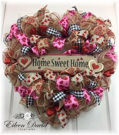 Heart Shaped Valentines Day Wreath Valentine Decor Front Door Gift