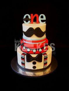 Mustache first birthday cake