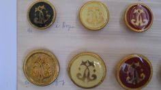 Vintage Buttons Lot of Royal Insignia Enameled Buttons of various sizes red yellow black brass Vintage Carded Buttons by TrulyMeVintage on Etsy