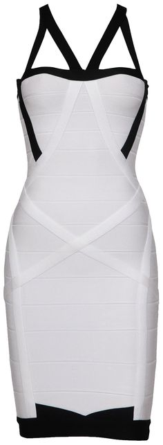 'Cassie' White & Black Bandage Dress