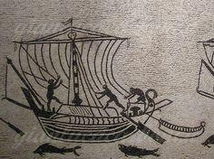 Marinai intenti ad ammainare le vele di un'oneraria - particolare del mosaico pavimentale dalla domus del palazzo Diotallevi, Rimini - Gianluca Carboni
