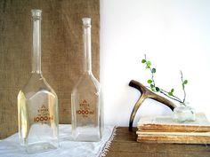 SALE Vintage Apothecary Lab Flasks Bottle / by BirdinHandVTG, $32.00
