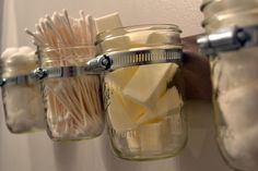 Small space storage solution using mason jars.my love for mason jars!