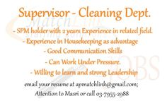 Hi Malaysia, We're looking for Supervisor - Cleaning Department.  https://www.facebook.com/apmatchlink/photos/a.10152233278302880.1073741826.359210092879/10152788941017880/?type=1&theater … …  #MatchlinkJobs