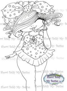 "NEW ""Fluffy Besties TM""INSTANT DOWMLOAD Digital Digi Stamps Big Eye Big Head Dolls Digi Img081 New Fluffy Besties TM By Sherri Baldy - My Besties Shop"