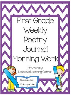 This set of poems includes 5 poems and follow up activities for each month, months September through June, and are designed for first grade.  The poems and follow ups are perfect to use as a weekly morning work center, but can also be used as a weekly journal assignment, as a part of writing workshop, as a choice or menu activity for students who finish other assigned work early, as a weekly or monthly check-in or assessment or as a part of your literacy centers.