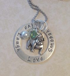"""More of my Hand stamped personalized Bulldog Jewelry, in Sterling Silver. """"Inspired By Bronx"""" on Etsy"""