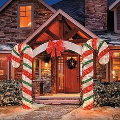 Outdoor Lighted Christmas Candy Cane Arch Yard Display Decoration 7 FOOT